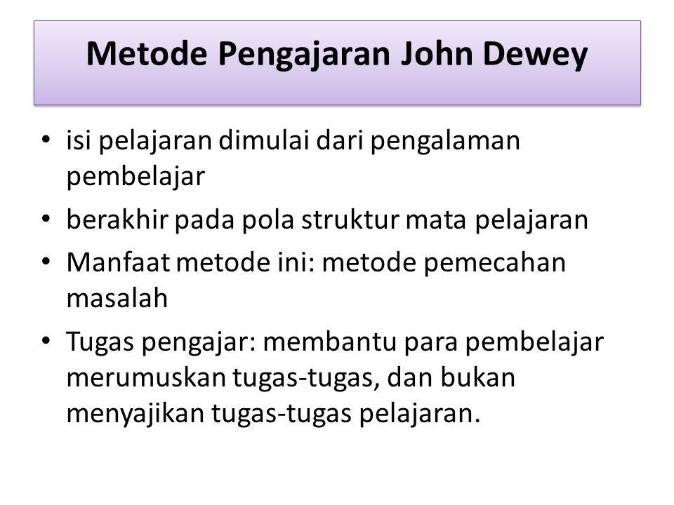 Metode Pengajaran John Dewey isi pelajaran dimulai dari pengalaman pembelajar berakhir pada pola struktur mata pelajaran Manfaat metode ini: metode pemecahan masalah Tugas pengajar: membantu para pembelajar merumuskan tugas-tugas, dan bukan menyajikan tugas-tugas pelajaran.