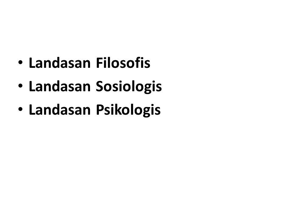 Landasan Filosofis Landasan Sosiologis Landasan Psikologis