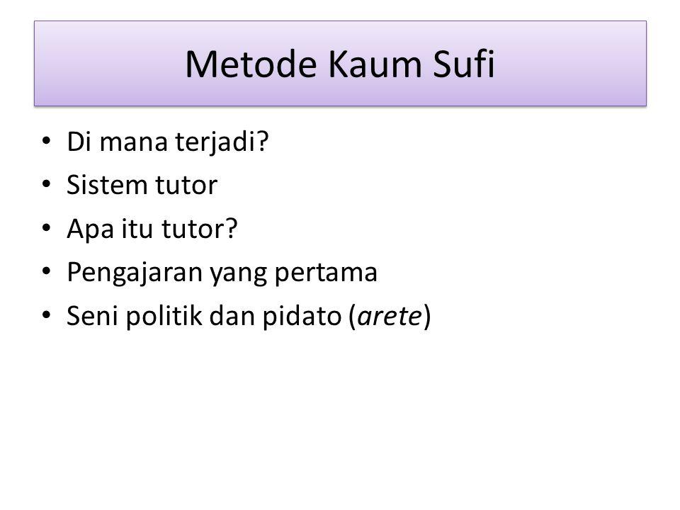 Metode Kaum Sufi Di mana terjadi. Sistem tutor Apa itu tutor.