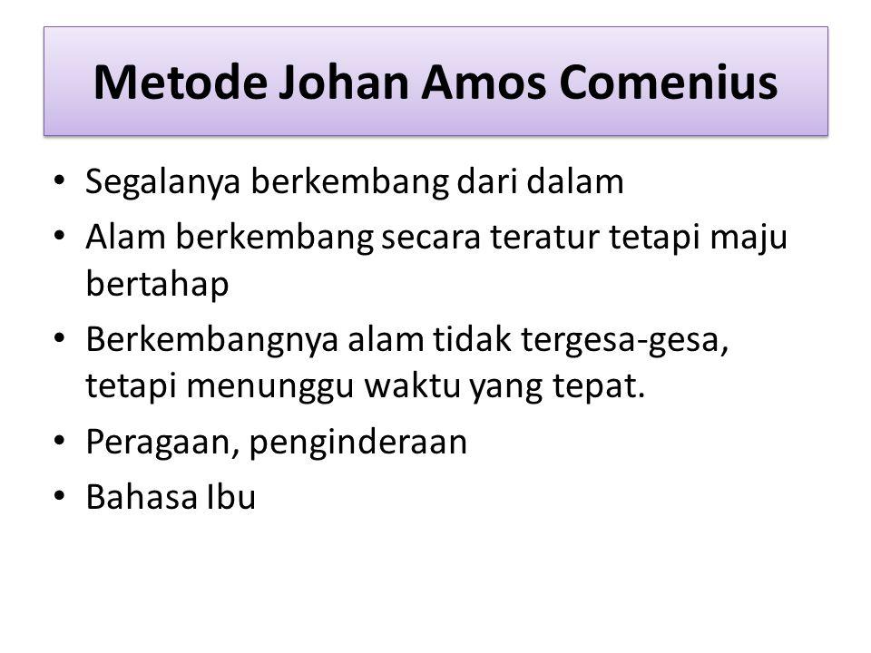 Metode Johan Amos Comenius Segalanya berkembang dari dalam Alam berkembang secara teratur tetapi maju bertahap Berkembangnya alam tidak tergesa-gesa, tetapi menunggu waktu yang tepat.