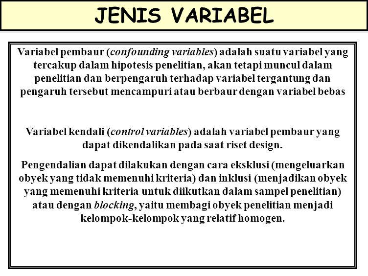 JENIS VARIABEL Variabel tergantung adalah variabel yang tercakup dalam hipotesis penelitian, keragamannya dipengaruhi oleh variabel lain Variabel beba