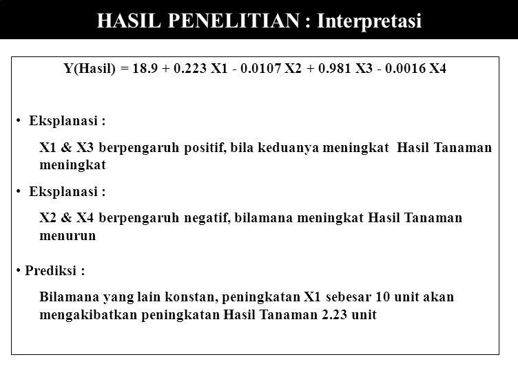 HASIL ANALISIS DG MINITAB ANALISIS REGRESI (Variabel Dependent datanya Ratio) The regression equation is Hasil = 18.9 + 0.223 X1 - 0.0107 X2 + 0.981 X