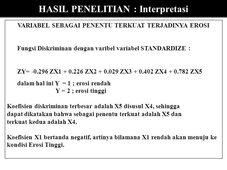 HASIL PENELITIAN : INTERPRETASI VALIDITAS MODEL : Wilks' Lamda dengan p = 0.00001, berarti model layak digunakan (valid) KONTRIBUSI PENGARUH : Besarny