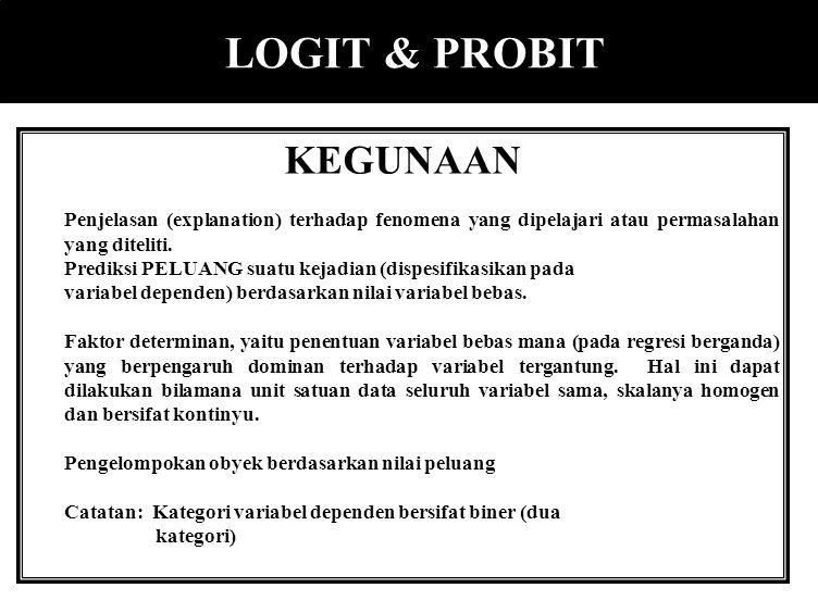 JENIS REGRESI Y KUALITATIF 1. Logit 2. Probit 3. LPM 4. Tobit 5. Gompit 6. Loglinear Model