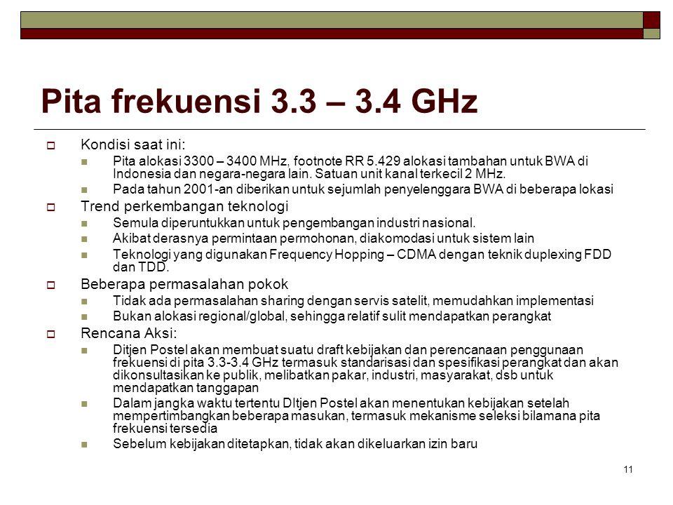 11 Pita frekuensi 3.3 – 3.4 GHz  Kondisi saat ini: Pita alokasi 3300 – 3400 MHz, footnote RR 5.429 alokasi tambahan untuk BWA di Indonesia dan negara-negara lain.