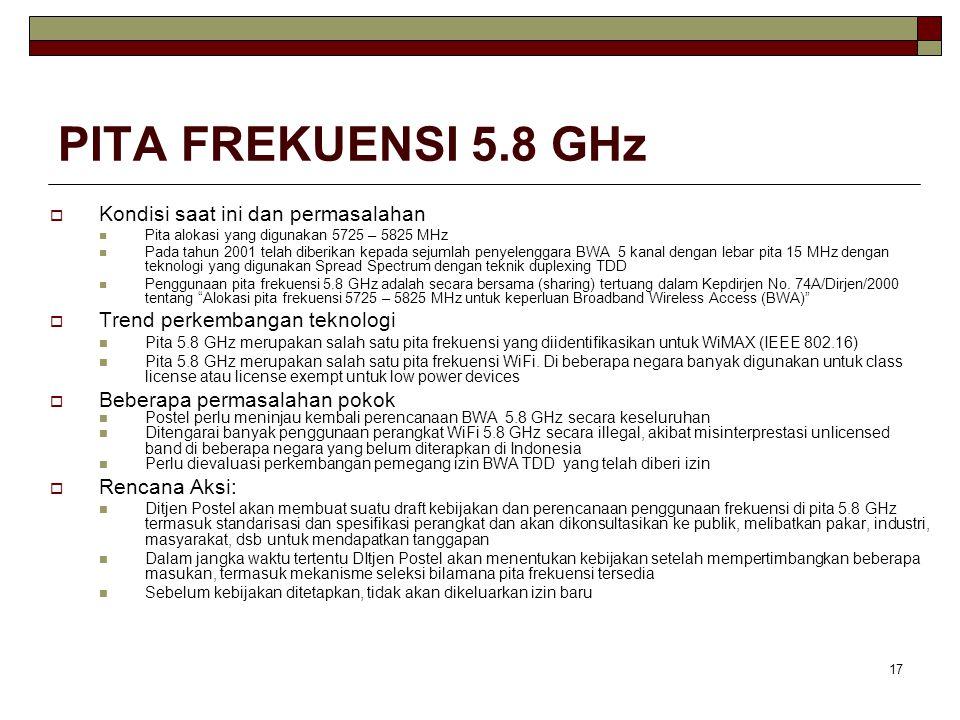 17 PITA FREKUENSI 5.8 GHz  Kondisi saat ini dan permasalahan Pita alokasi yang digunakan 5725 – 5825 MHz Pada tahun 2001 telah diberikan kepada sejumlah penyelenggara BWA 5 kanal dengan lebar pita 15 MHz dengan teknologi yang digunakan Spread Spectrum dengan teknik duplexing TDD Penggunaan pita frekuensi 5.8 GHz adalah secara bersama (sharing) tertuang dalam Kepdirjen No.