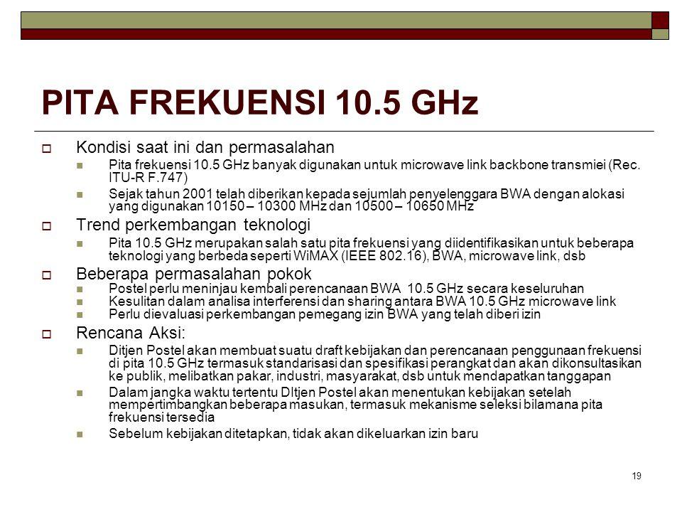 19 PITA FREKUENSI 10.5 GHz  Kondisi saat ini dan permasalahan Pita frekuensi 10.5 GHz banyak digunakan untuk microwave link backbone transmiei (Rec.