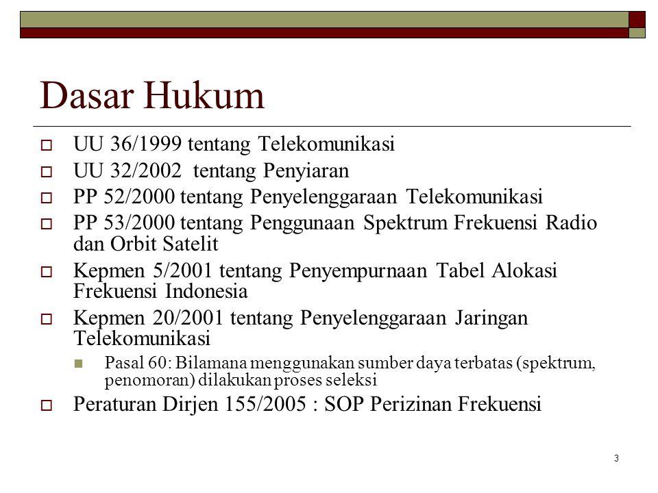 3 Dasar Hukum  UU 36/1999 tentang Telekomunikasi  UU 32/2002 tentang Penyiaran  PP 52/2000 tentang Penyelenggaraan Telekomunikasi  PP 53/2000 tentang Penggunaan Spektrum Frekuensi Radio dan Orbit Satelit  Kepmen 5/2001 tentang Penyempurnaan Tabel Alokasi Frekuensi Indonesia  Kepmen 20/2001 tentang Penyelenggaraan Jaringan Telekomunikasi Pasal 60: Bilamana menggunakan sumber daya terbatas (spektrum, penomoran) dilakukan proses seleksi  Peraturan Dirjen 155/2005 : SOP Perizinan Frekuensi