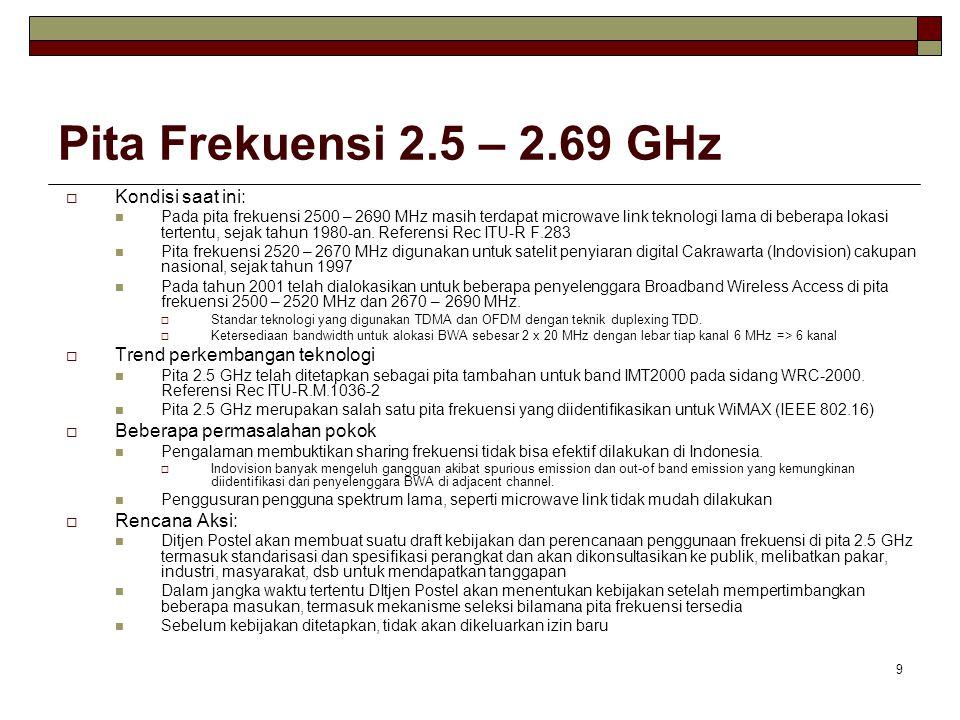 9 Pita Frekuensi 2.5 – 2.69 GHz  Kondisi saat ini: Pada pita frekuensi 2500 – 2690 MHz masih terdapat microwave link teknologi lama di beberapa lokasi tertentu, sejak tahun 1980-an.