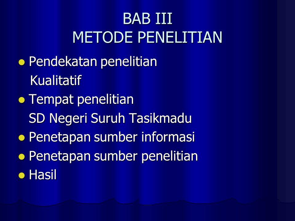 BAB III METODE PENELITIAN Pendekatan penelitian Pendekatan penelitian Kualitatif Kualitatif Tempat penelitian Tempat penelitian SD Negeri Suruh Tasikm