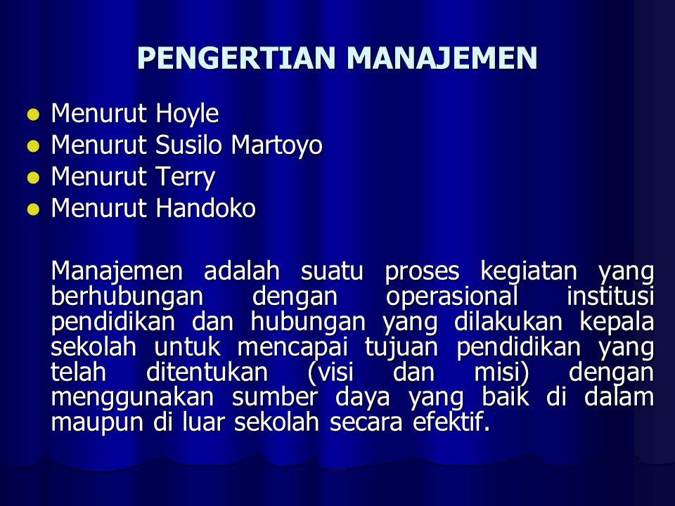 PENGERTIAN MANAJEMEN Menurut Hoyle Menurut Hoyle Menurut Susilo Martoyo Menurut Susilo Martoyo Menurut Terry Menurut Terry Menurut Handoko Menurut Han