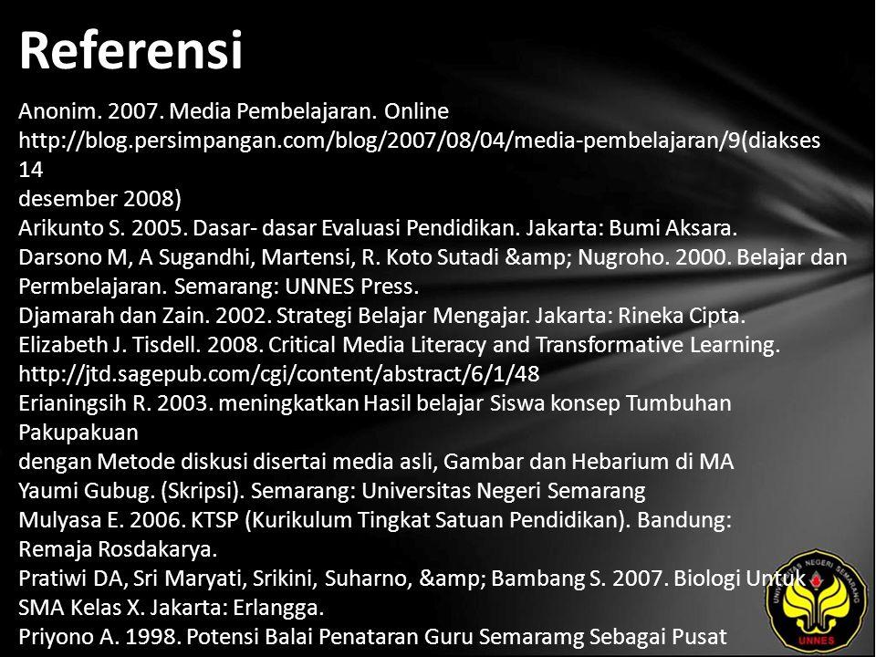 Referensi Anonim. 2007. Media Pembelajaran.