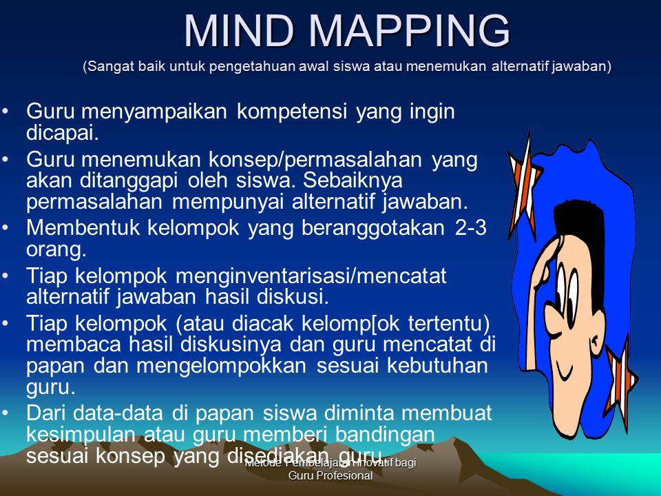 Metode Pembelajaran Inovatif bagi Guru Profesional MIND MAPPING (Sangat baik untuk pengetahuan awal siswa atau menemukan alternatif jawaban) Guru meny