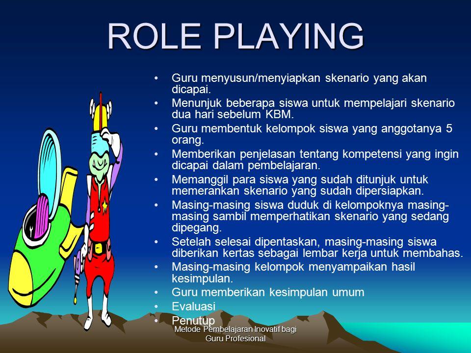 Metode Pembelajaran Inovatif bagi Guru Profesional ROLE PLAYING Guru menyusun/menyiapkan skenario yang akan dicapai. Menunjuk beberapa siswa untuk mem