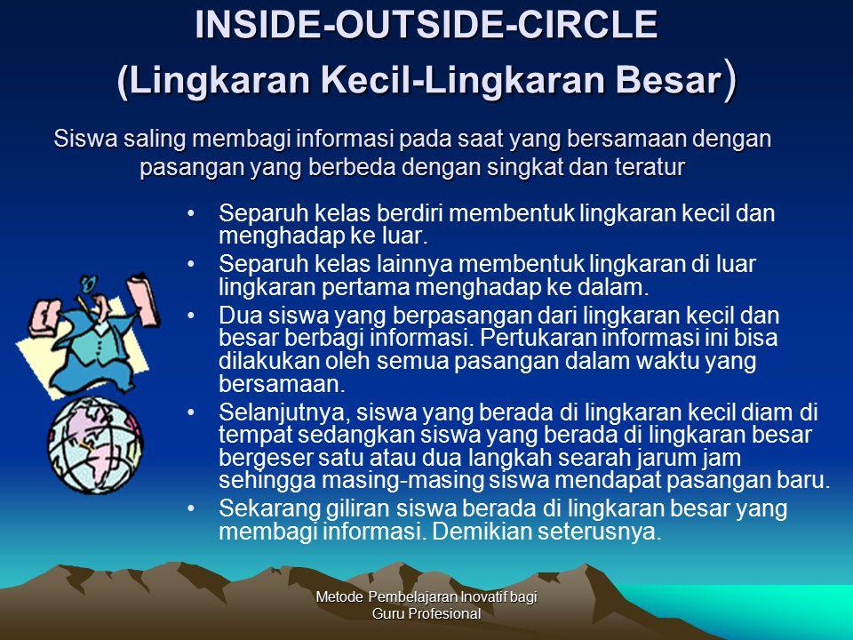 Metode Pembelajaran Inovatif bagi Guru Profesional INSIDE-OUTSIDE-CIRCLE (Lingkaran Kecil-Lingkaran Besar ) Separuh kelas berdiri membentuk lingkaran