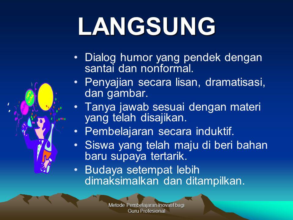 Metode Pembelajaran Inovatif bagi Guru Profesional LANGSUNG Dialog humor yang pendek dengan santai dan nonformal. Penyajian secara lisan, dramatisasi,