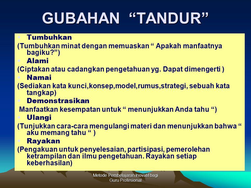 """Metode Pembelajaran Inovatif bagi Guru Profesional GUBAHAN """"TANDUR"""" Tumbuhkan (Tumbuhkan minat dengan memuaskan """" Apakah manfaatnya bagiku?"""") Alami (C"""