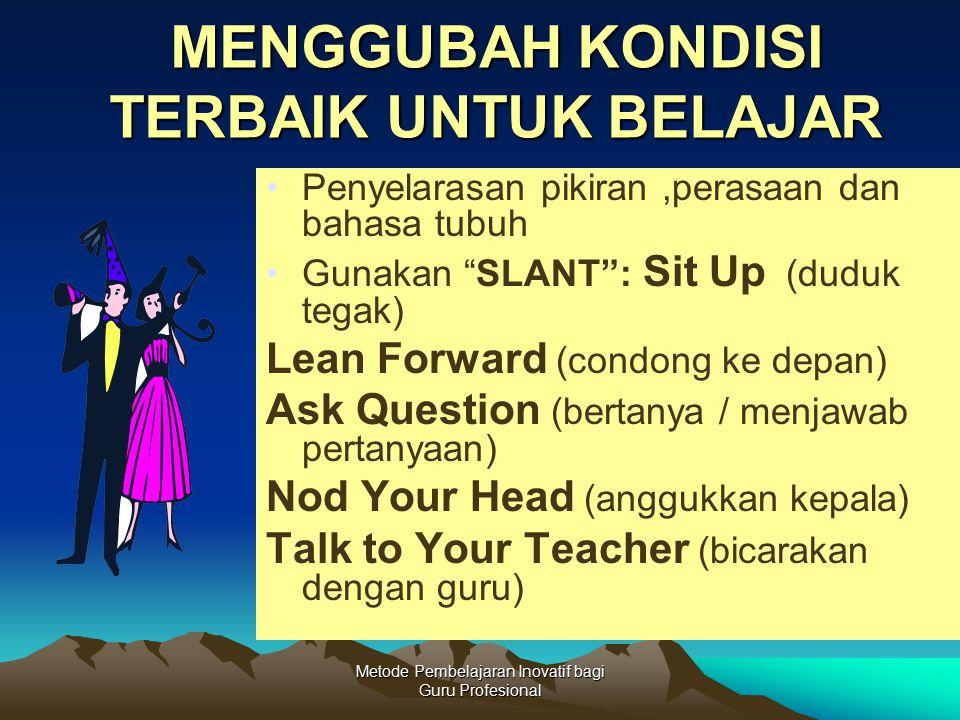 """Metode Pembelajaran Inovatif bagi Guru Profesional MENGGUBAH KONDISI TERBAIK UNTUK BELAJAR Penyelarasan pikiran,perasaan dan bahasa tubuh Gunakan """"SLA"""