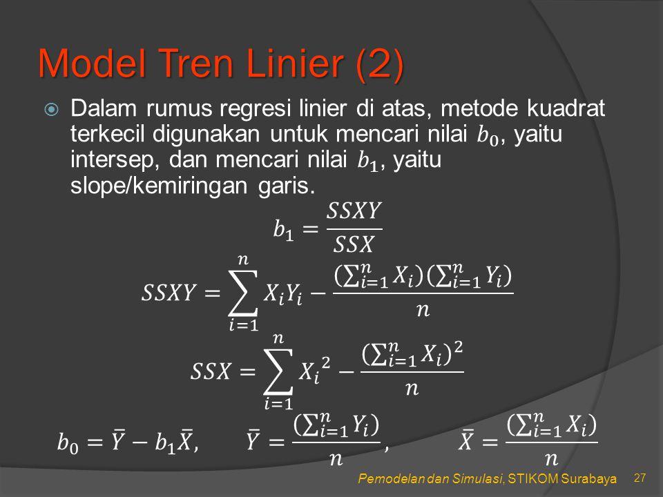 Pemodelan dan Simulasi, STIKOM Surabaya Model Tren Linier (2) 27
