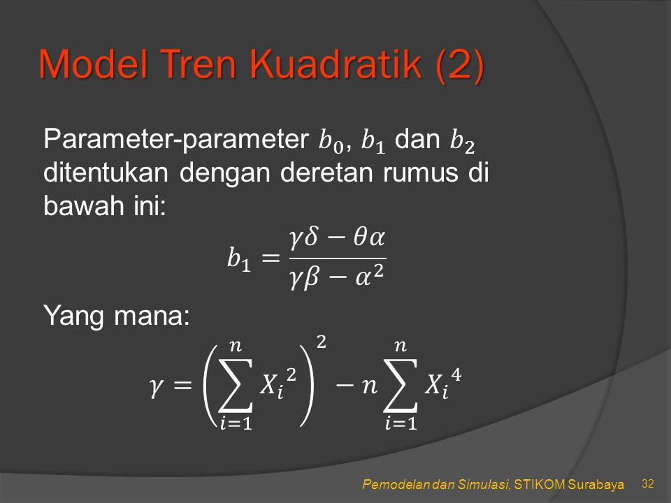 Pemodelan dan Simulasi, STIKOM Surabaya Model Tren Kuadratik (2) 33