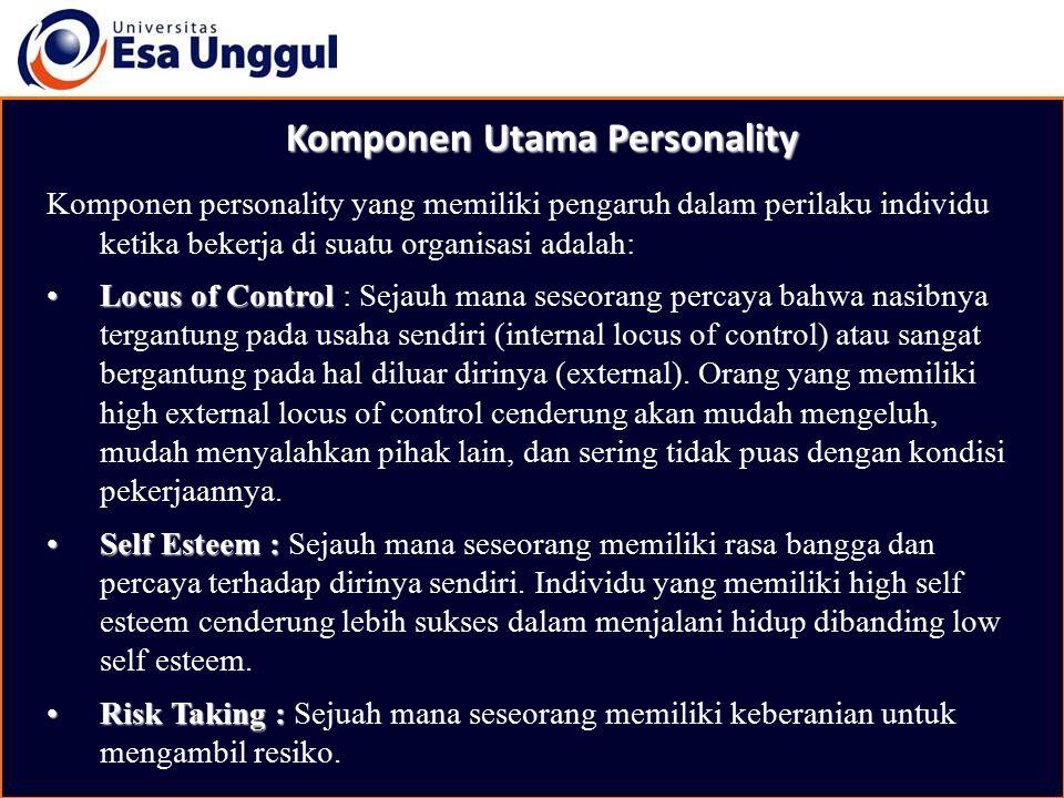 Komponen Utama Personality Komponen personality yang memiliki pengaruh dalam perilaku individu ketika bekerja di suatu organisasi adalah: Locus of Con