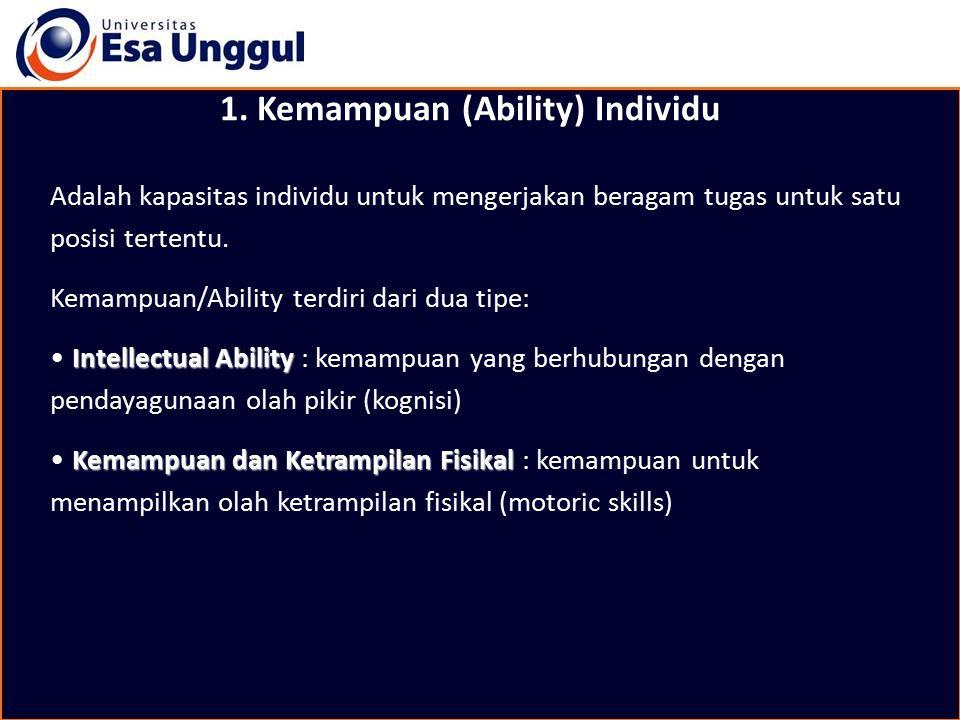 1. Kemampuan (Ability) Individu Adalah kapasitas individu untuk mengerjakan beragam tugas untuk satu posisi tertentu. Kemampuan/Ability terdiri dari d