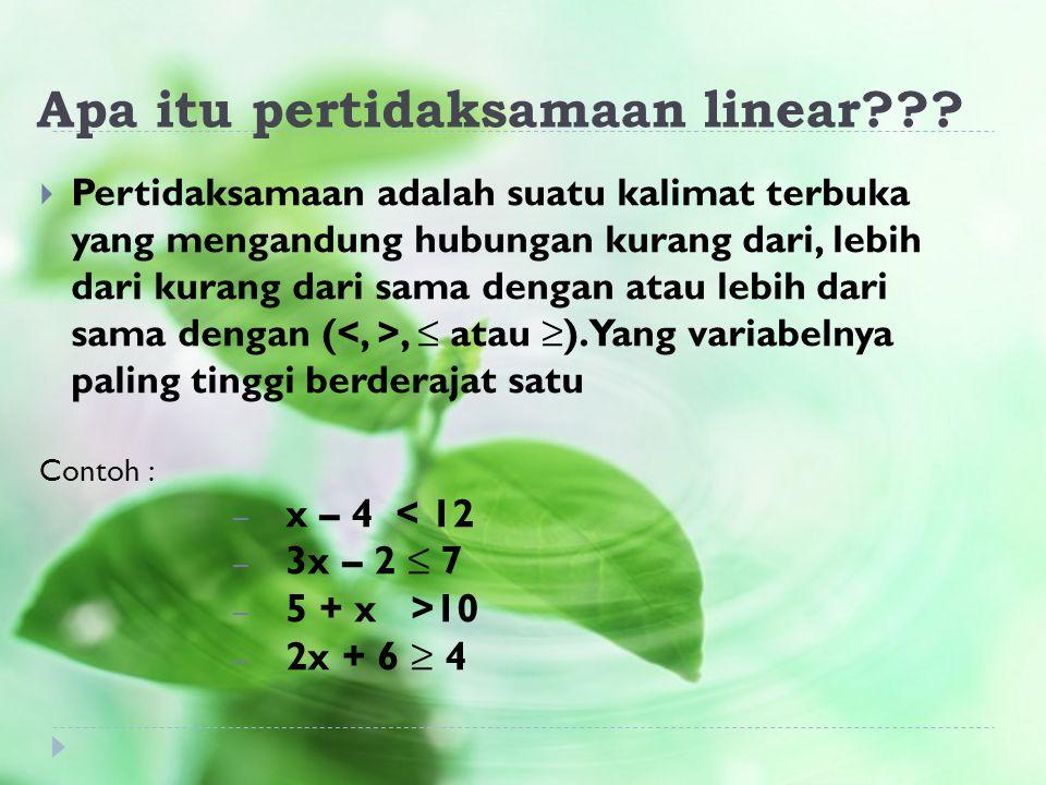 Apa itu pertidaksamaan linear???  Pertidaksamaan adalah suatu kalimat terbuka yang mengandung hubungan kurang dari, lebih dari kurang dari sama denga