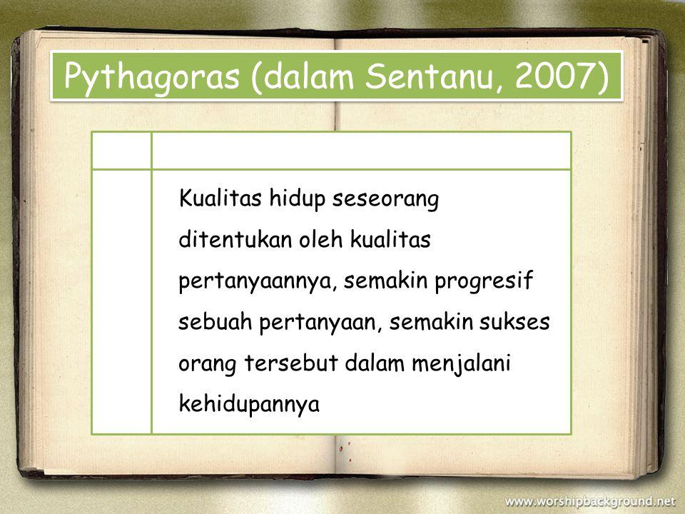 Pythagoras (dalam Sentanu, 2007) Kualitas hidup seseorang ditentukan oleh kualitas pertanyaannya, semakin progresif sebuah pertanyaan, semakin sukses