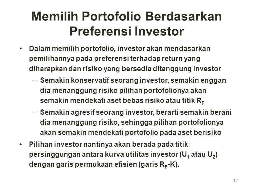 Memilih Portofolio Berdasarkan Preferensi Investor Dalam memilih portofolio, investor akan mendasarkan pemilihannya pada preferensi terhadap return ya
