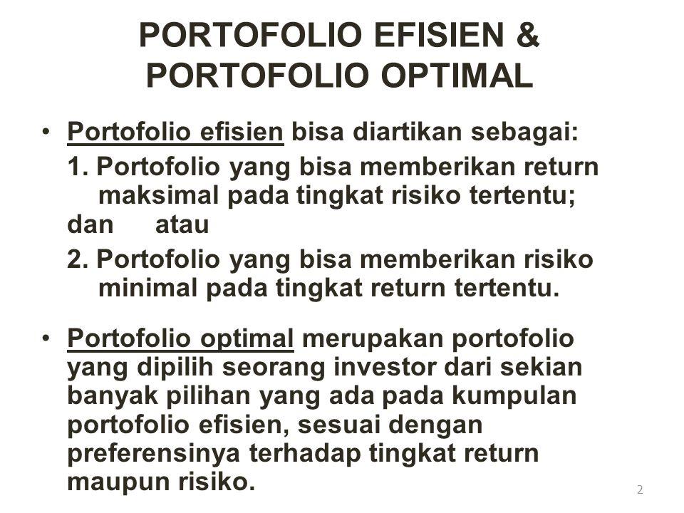 PORTOFOLIO EFISIEN & PORTOFOLIO OPTIMAL Portofolio efisien bisa diartikan sebagai: 1. Portofolio yang bisa memberikan return maksimal pada tingkat ris