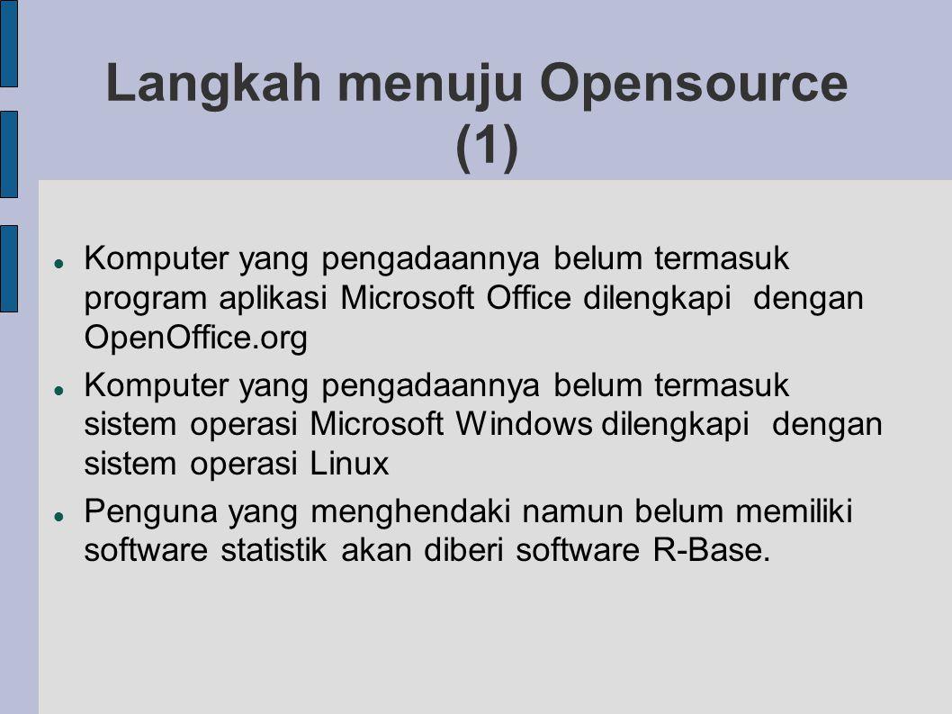 Langkah menuju Opensource (1) Komputer yang pengadaannya belum termasuk program aplikasi Microsoft Office dilengkapi dengan OpenOffice.org Komputer yang pengadaannya belum termasuk sistem operasi Microsoft Windows dilengkapi dengan sistem operasi Linux Penguna yang menghendaki namun belum memiliki software statistik akan diberi software R-Base.