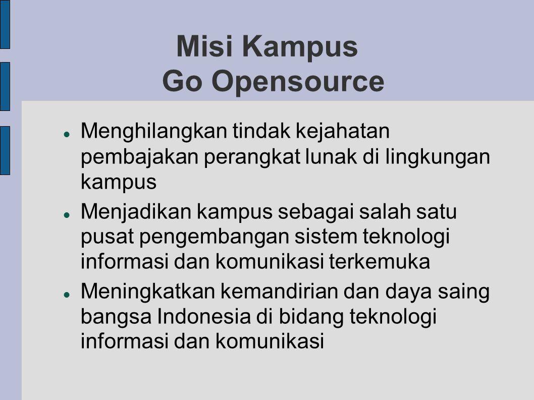 Misi Kampus Go Opensource Menghilangkan tindak kejahatan pembajakan perangkat lunak di lingkungan kampus Menjadikan kampus sebagai salah satu pusat pengembangan sistem teknologi informasi dan komunikasi terkemuka Meningkatkan kemandirian dan daya saing bangsa Indonesia di bidang teknologi informasi dan komunikasi