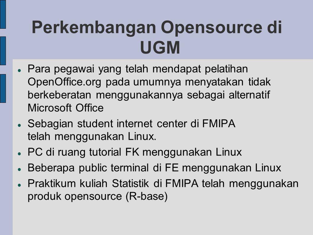 Perkembangan Opensource di UGM Para pegawai yang telah mendapat pelatihan OpenOffice.org pada umumnya menyatakan tidak berkeberatan menggunakannya sebagai alternatif Microsoft Office Sebagian student internet center di FMIPA telah menggunakan Linux.
