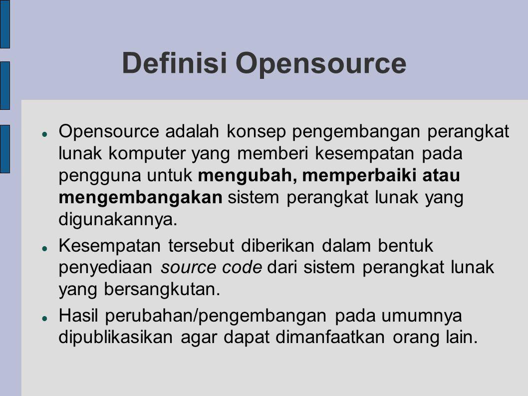 Opensource adalah konsep pengembangan perangkat lunak komputer yang memberi kesempatan pada pengguna untuk mengubah, memperbaiki atau mengembangakan sistem perangkat lunak yang digunakannya.