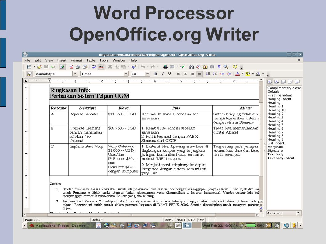 Word Processor OpenOffice.org Writer