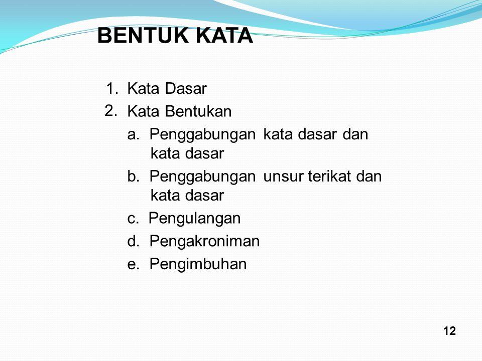 BENTUK KATA 1.Kata Dasar 2. Kata Bentukan a. Penggabungan kata dasar dan kata dasar b. Penggabungan unsur terikat dan kata dasar c. Pengulangan d. Pen