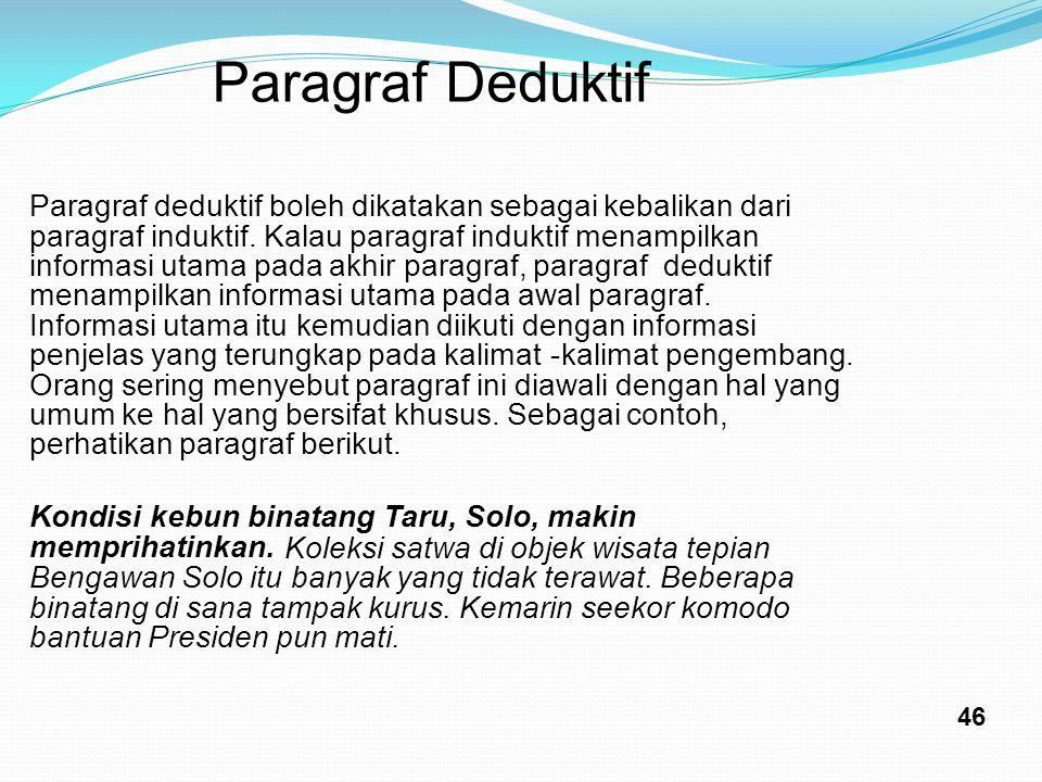 ParagrafDeduktif Paragraf deduktif boleh dikatakan sebagai kebalikan dari paragraf induktif. Kalau paragraf induktif menampilkan informasi utama pada