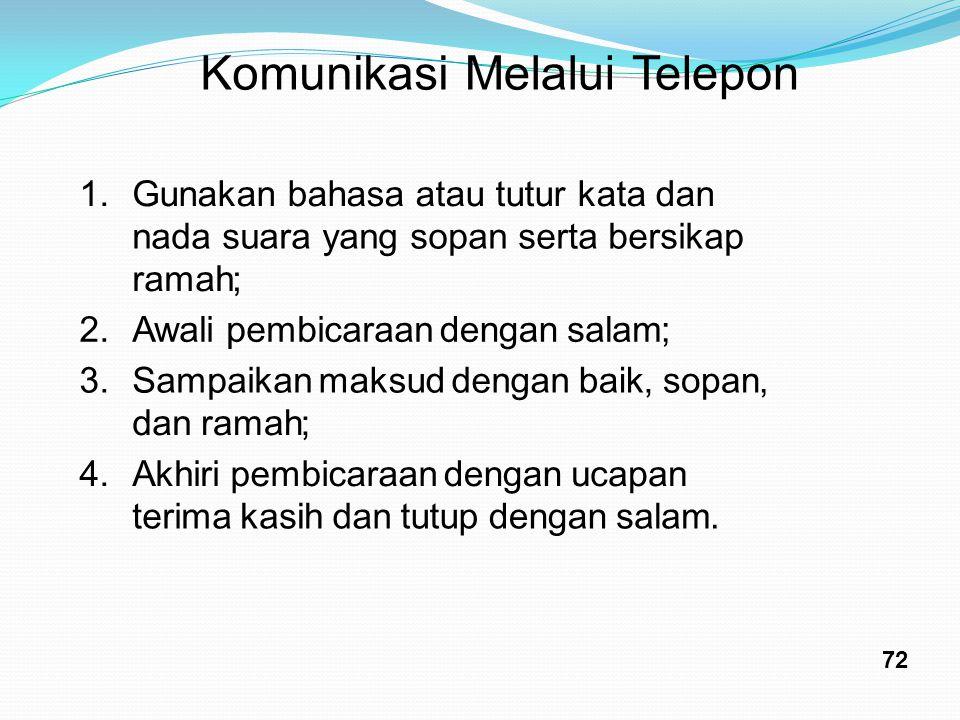 KomunikasiMelaluiTelepon 1.Gunakan bahasa atau tutur kata dan nada suara yang sopan serta bersikap ramah; 2.Awalipembicaraandengansalam; 3.Sampaikanma