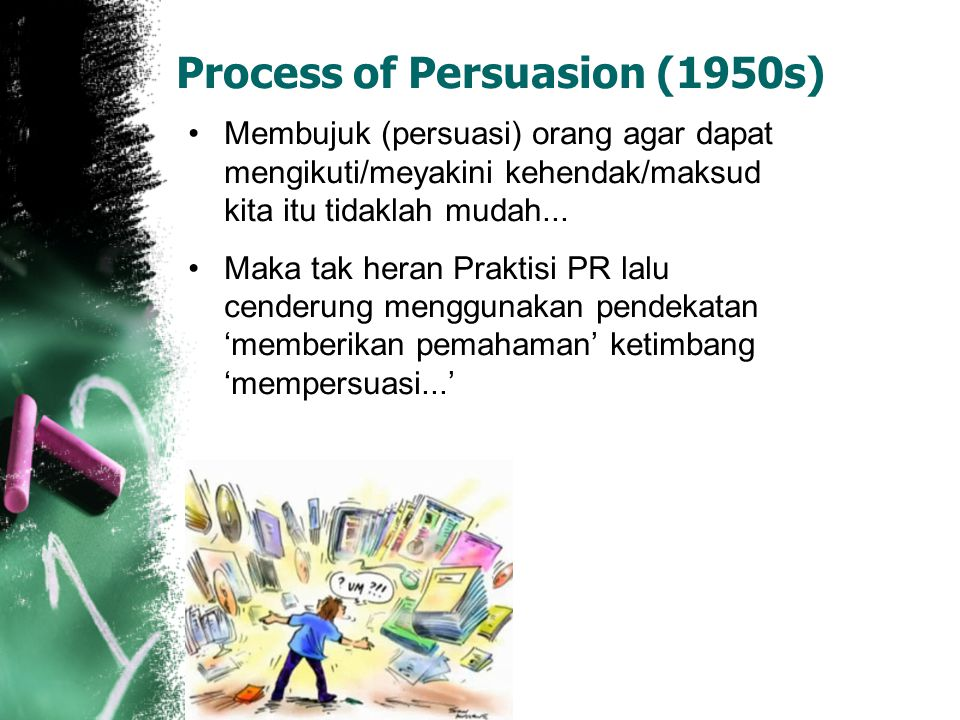 Process of Persuasion (1950s) Membujuk (persuasi) orang agar dapat mengikuti/meyakini kehendak/maksud kita itu tidaklah mudah... Maka tak heran Prakti