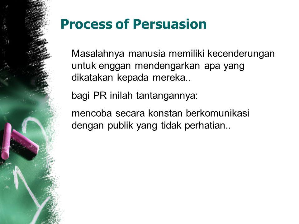 Process of Persuasion Masalahnya manusia memiliki kecenderungan untuk enggan mendengarkan apa yang dikatakan kepada mereka.. bagi PR inilah tantangann
