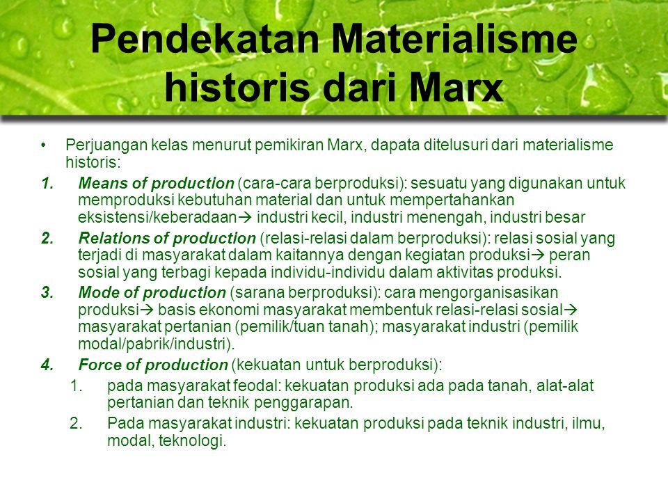 Pendekatan Materialisme historis dari Marx Perjuangan kelas menurut pemikiran Marx, dapata ditelusuri dari materialisme historis: 1.Means of productio