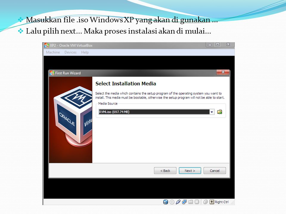  Masukkan file.iso Windows XP yang akan di gunakan...  Lalu pilih next... Maka proses instalasi akan di mulai...