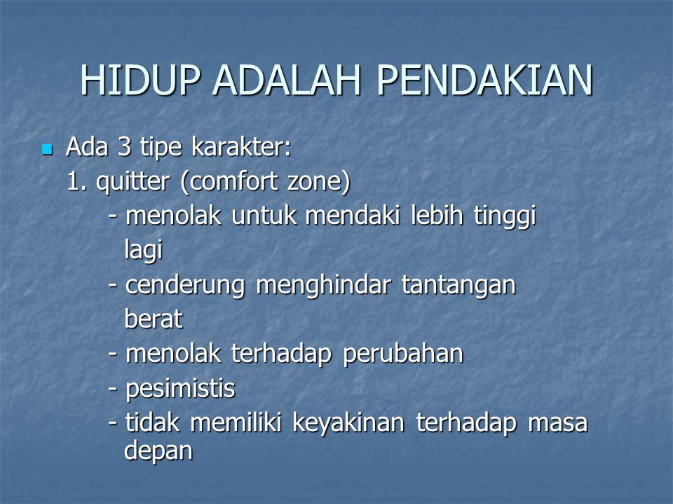 HIDUP ADALAH PENDAKIAN Ada 3 tipe karakter: Ada 3 tipe karakter: 1. quitter (comfort zone) - menolak untuk mendaki lebih tinggi lagi lagi - cenderung