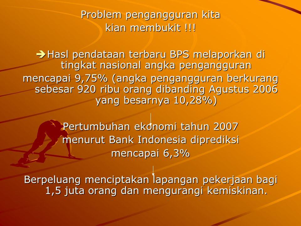 Problem pengangguran kita kian membukit !!!  Hasl pendataan terbaru BPS melaporkan di tingkat nasional angka pengangguran mencapai 9,75% (angka penga