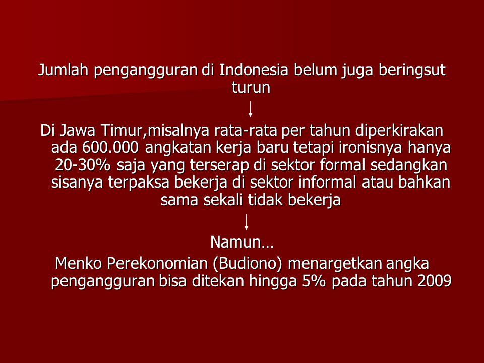 Jumlah pengangguran di Indonesia belum juga beringsut turun Di Jawa Timur,misalnya rata-rata per tahun diperkirakan ada 600.000 angkatan kerja baru te
