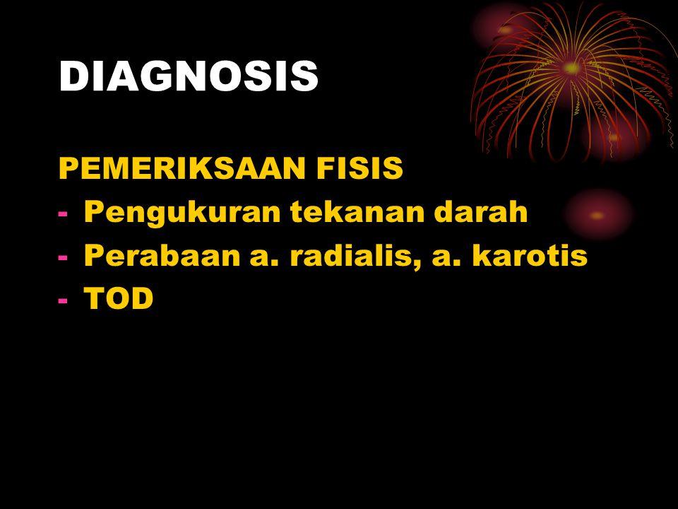 DIAGNOSIS PEMERIKSAAN FISIS -Pengukuran tekanan darah -Perabaan a. radialis, a. karotis -TOD