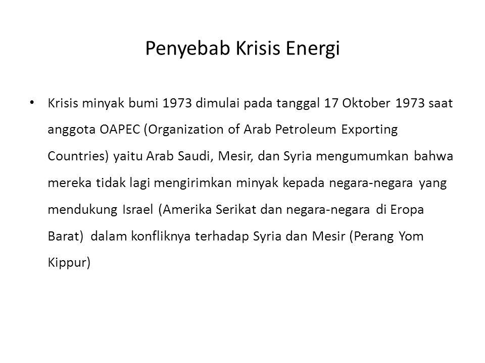 Penyebab Krisis Energi Krisis minyak bumi 1973 dimulai pada tanggal 17 Oktober 1973 saat anggota OAPEC (Organization of Arab Petroleum Exporting Countries) yaitu Arab Saudi, Mesir, dan Syria mengumumkan bahwa mereka tidak lagi mengirimkan minyak kepada negara-negara yang mendukung Israel (Amerika Serikat dan negara-negara di Eropa Barat) dalam konfliknya terhadap Syria dan Mesir (Perang Yom Kippur)
