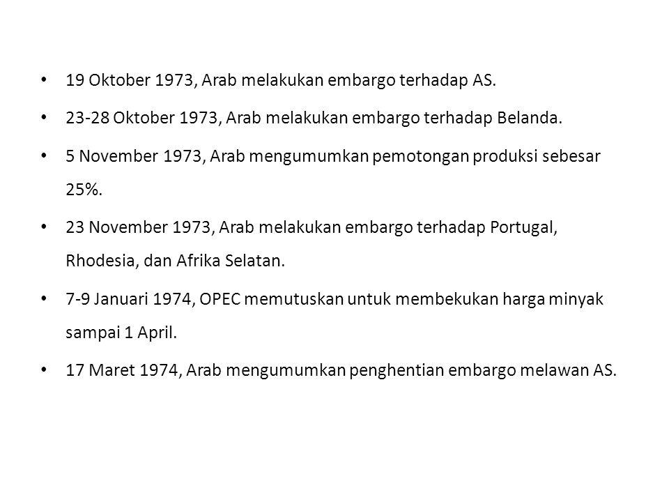 19 Oktober 1973, Arab melakukan embargo terhadap AS.