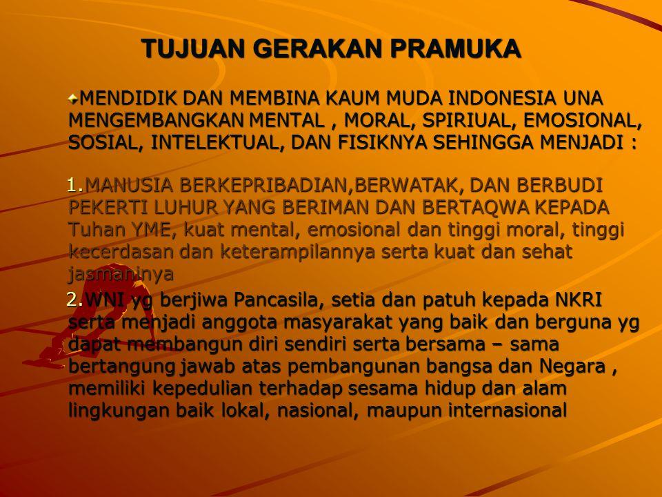 TUJUAN GERAKAN PRAMUKA MENDIDIK DAN MEMBINA KAUM MUDA INDONESIA UNA MENGEMBANGKAN MENTAL, MORAL, SPIRIUAL, EMOSIONAL, SOSIAL, INTELEKTUAL, DAN FISIKNYA SEHINGGA MENJADI : 1.MANUSIA BERKEPRIBADIAN,BERWATAK, DAN BERBUDI PEKERTI LUHUR YANG BERIMAN DAN BERTAQWA KEPADA Tuhan YME, kuat mental, emosional dan tinggi moral, tinggi kecerdasan dan keterampilannya serta kuat dan sehat jasmaninya 2.WNI yg berjiwa Pancasila, setia dan patuh kepada NKRI serta menjadi anggota masyarakat yang baik dan berguna yg dapat membangun diri sendiri serta bersama – sama bertangung jawab atas pembangunan bangsa dan Negara, memiliki kepedulian terhadap sesama hidup dan alam lingkungan baik lokal, nasional, maupun internasional