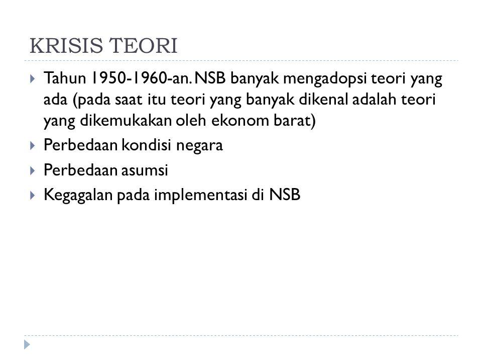 KRISIS TEORI  Tahun 1950-1960-an. NSB banyak mengadopsi teori yang ada (pada saat itu teori yang banyak dikenal adalah teori yang dikemukakan oleh ek